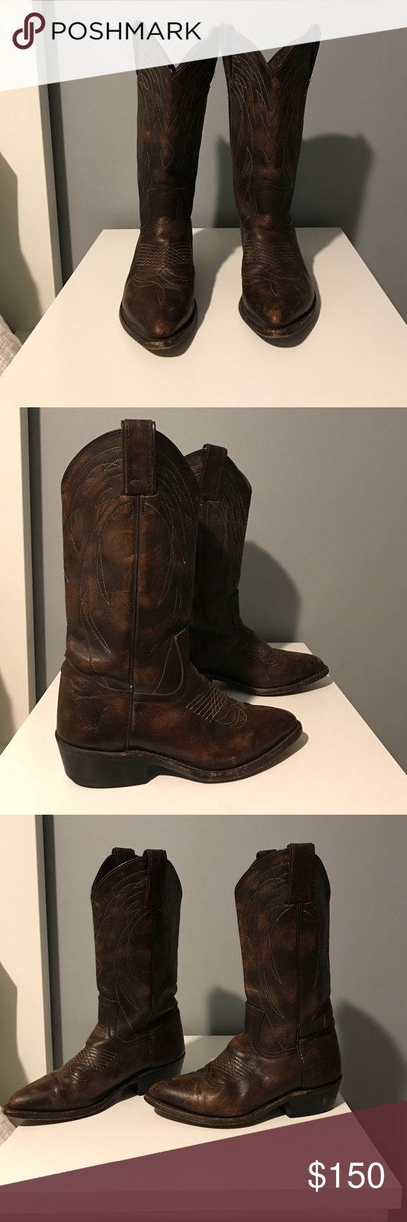 Frye Billy Pull On Boots Genuine Frye Billy Pull on cowboy boots. Love these but they don't fit anymore. Worn approximately 10 times so they still have a lot of wear left! Frye Shoes Heeled Boots