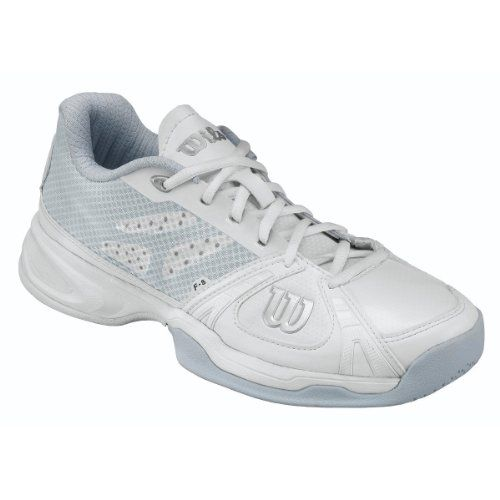 Womens Rush Swing W White Tennis Shoes, White/Steel Grey/Silver Wilson