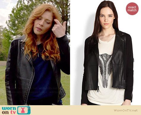 Julia's black leather jacket with zip sleeves on Under the Dome.  Outfit Details: http://wornontv.net/35179/ #UndertheDome