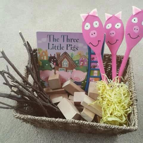 Story box using wooden spoons