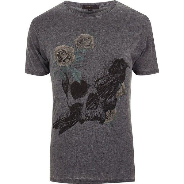 River Island Dark grey rose skull print T-shirt (1075 RSD) ❤ liked on Polyvore featuring men's fashion, men's clothing, men's shirts, men's t-shirts, mens dark grey shirt, mens skull shirts, mens rose t shirt, men's regular fit shirts and river island mens shirts