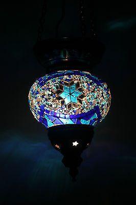 MEDIUM TURKISH MOROCCAN MOSAIC HANGING LAMP PENDANT LANTERN TEA LIGHT XMAS GIFT