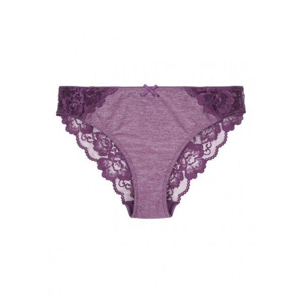 Womens Purple Lace Briefs (£4) ❤ liked on Polyvore featuring intimates, panties, purple lace lingerie, purple lingerie, lacy lingerie, lace lingerie and bow lingerie