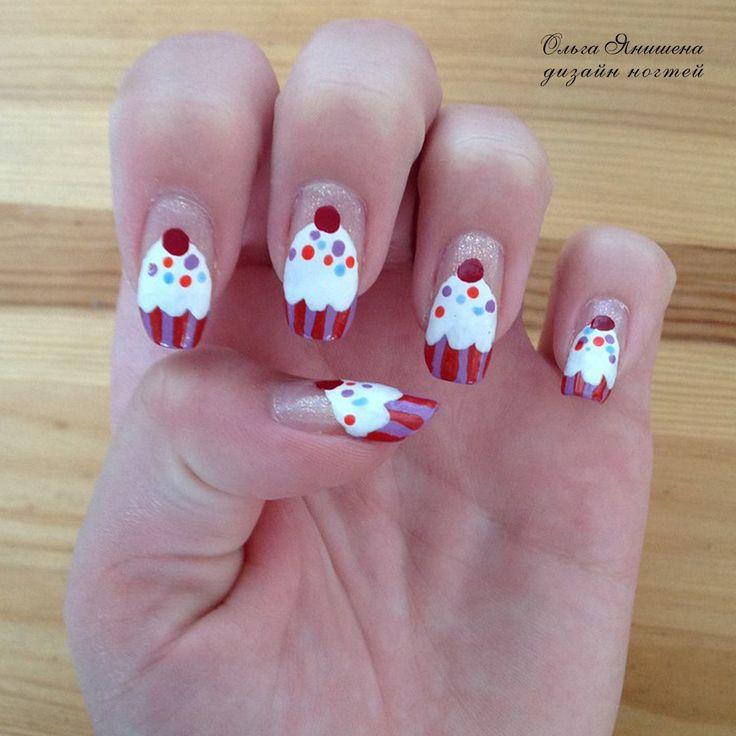 Кексики #nail #nails #ногти #маникюр #рисунок #кекс #кексик #кексики #тортик #тортики #ДиснейЛенд #Дисней #nailart #art #naildesign #design #nailstyle #style #cake #cakes #pie #DisneyLand #Disney #Land