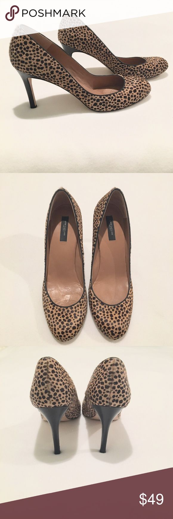 Ann Taylor Leopard Pumps Calf hair leopard print pumps by Ann Taylor.  4 inch heel.  Size 9.  Great used condition!  Please note, there is wear on the soles shown in the photos and an imprint in the right toe where a pad was that is not visible when worn.  The shoes are otherwise on excellent condition! Ann Taylor Shoes Heels