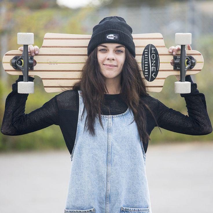 Beautiful maple-wood longboard handmade from Honey skateboards.