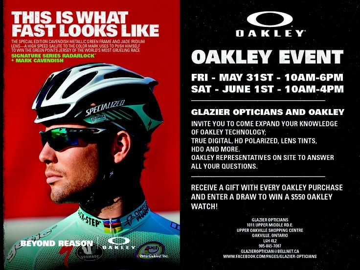 Glazier Opticians annual Oakley Event May 31 & June 1, 2013