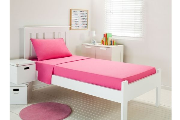 Dwell Pink Plain Dyed SINGLE Single & Fitted Sheet Set Polyester/Cotton NEW