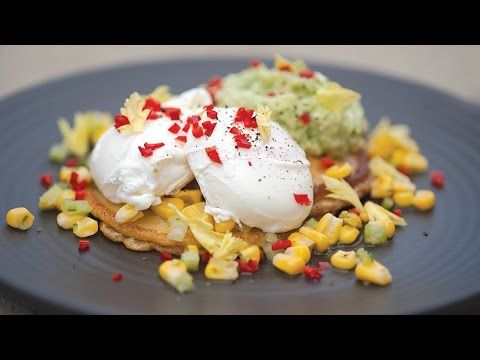 Savoury Pancakes with Poached Eggs and Avocado Smash - Goodman Fielder Foodservice Recipes - YouTube