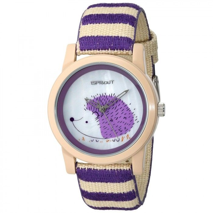 Sprout Purple & Tan Hedgehog Themed Dial Wrist Watch