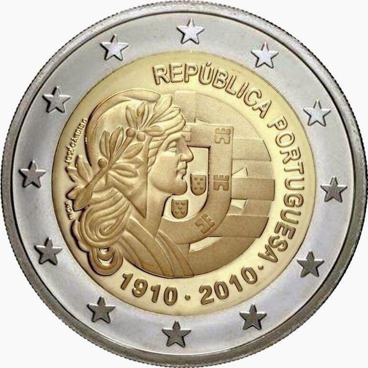 Portugiesische Gedenkmünze 2-Euro-Münzen 2010 – Hundertjahrfeier der Portugiesischen Republik Die Münze erinnert an den 100. Jahrestag des Endes der konstitutionellen Monarchie von König Manuel II. Und die Errichtung der Portugiesischen Ersten Republik nach der Revolution vom 5. Oktober 1910.