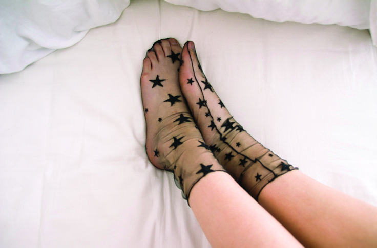 how cute are these star socks!! #munesox #starsocks #tullesocks #tulle #socks #socksinheels #bedroom #meshsocks