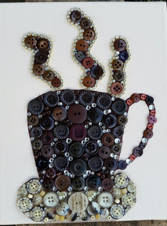 Sparkling Button Java! Coffee AND Bling...what could be better? This cup of beauty just sparkles as the steam glistens! I used vintage buttons, rhinestones, jewels, wooden beads and glass beads for this creation. Size: 8...