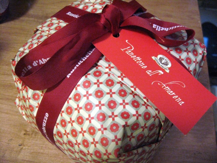Rustichella D' Abruzzo Cherry Panettone - wonderfully wrapped and even better to eat with a glass of prosecco