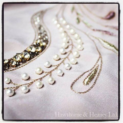 Decorative tambour chain stitching and bead work