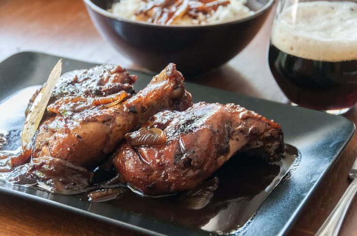 Chicken with dark beer by greek chef Akis. The beer gives to the chicken, tenderness and nice caramel flavor.