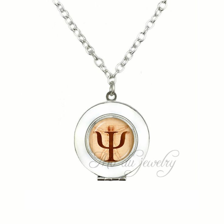 PSI Symbol Locket Pendants Necklaces Psychology Glass Locket Pendant Crucifix Jesus Necklace Anatomy Jewellery for Psychologist