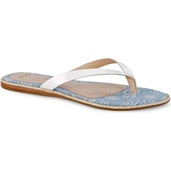 UGG Women's Allaria Denim White/Light Blue Thongs & Flip-Flops ($70) ❤ liked on Polyvore featuring shoes, sandals, flip flops, light blue sandals, white wedge sandals, white wedge shoes, white wedge heel sandals and white shoes