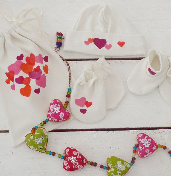 Organic baby accessories  hearts by OncleHope on Etsy