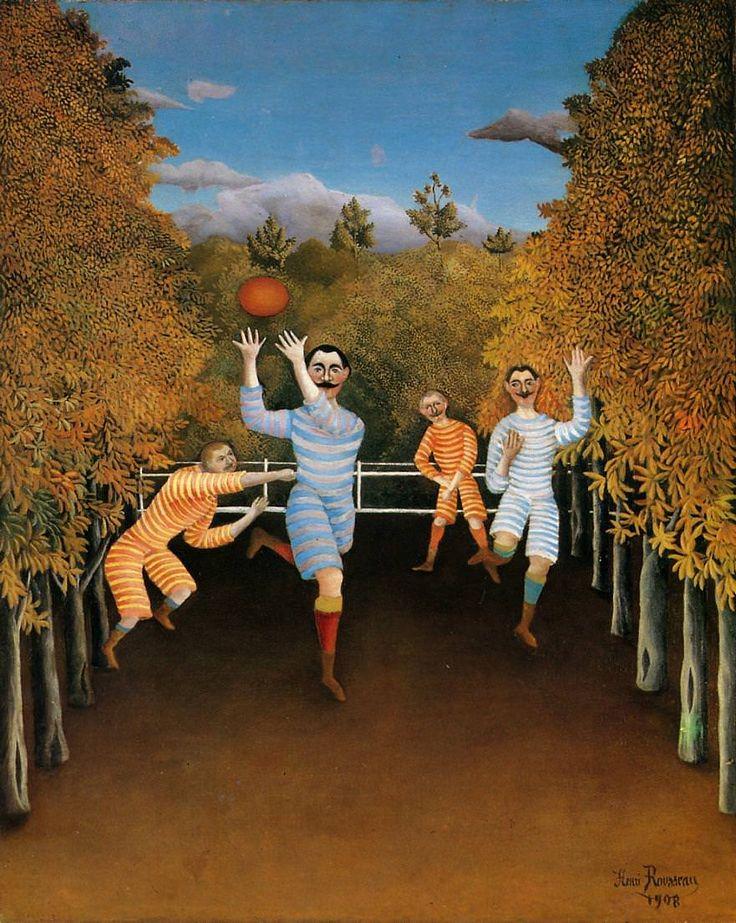 Henri Rousseau dit Le Douanier Rousseau (Fr.1844-1910), Les Joueurs de football, 1908, huile sur toile,100,3 × 80,3 cm, New York,Solomon R. Guggenheim Museum