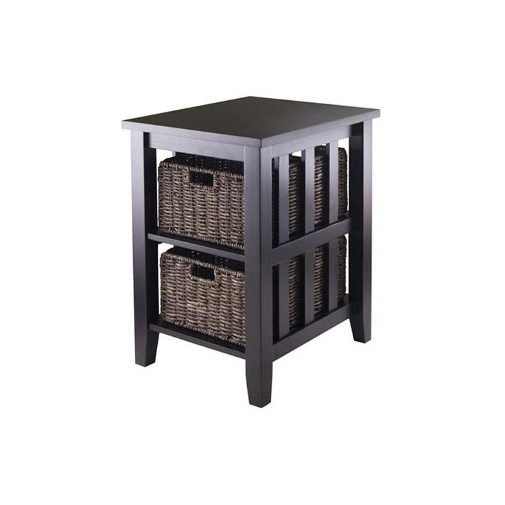Winsome Morris Side Table with 2 Foldable Baskets - The Winsome Morris Side Table with 2 Foldable Baskets is a tactile delight for living rooms and studies in need of visual texture. This elegant wood t...