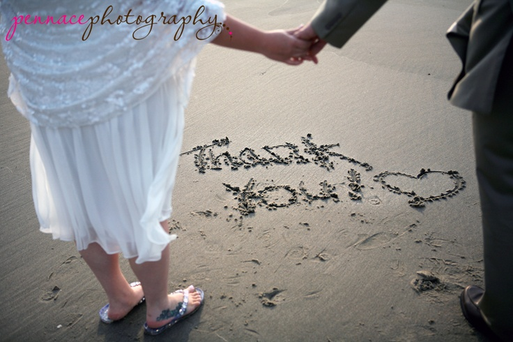 "This couple wrote ""thank you"" in the sand after their beach wedding and took a picture to use later as the thank you card. : Wedding Photography, Photo Ideas, Fashion Wedding Ideas, Thank You Ideas, Beach Weddings, Wedding Photos, Card Ideas, Photography Ideas"