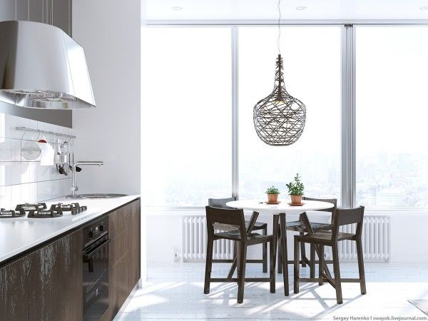 Beautiful Scandinavian Style Interior. Dining: kitchen dining table, huge windows with city view and abundance of natural light