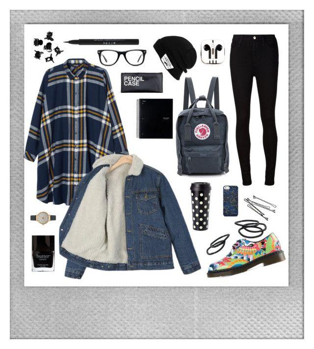 """back to school"" by petrificustxtalus on Polyvore featuring Mode, Polaroid, Monki, AG Adriano Goldschmied, Dr. Martens, Stila, Kate Spade, BOBBY, FOSSIL und Fjällräven"