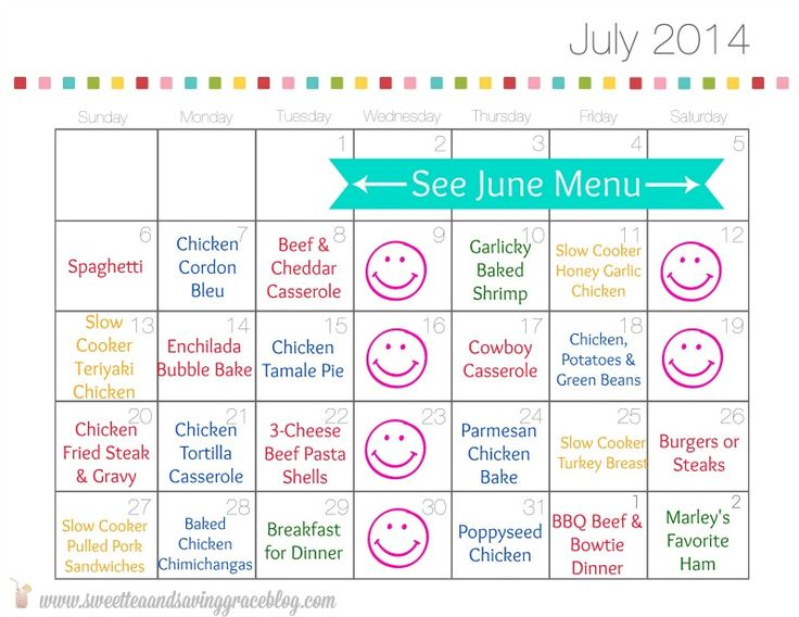 monthly meals