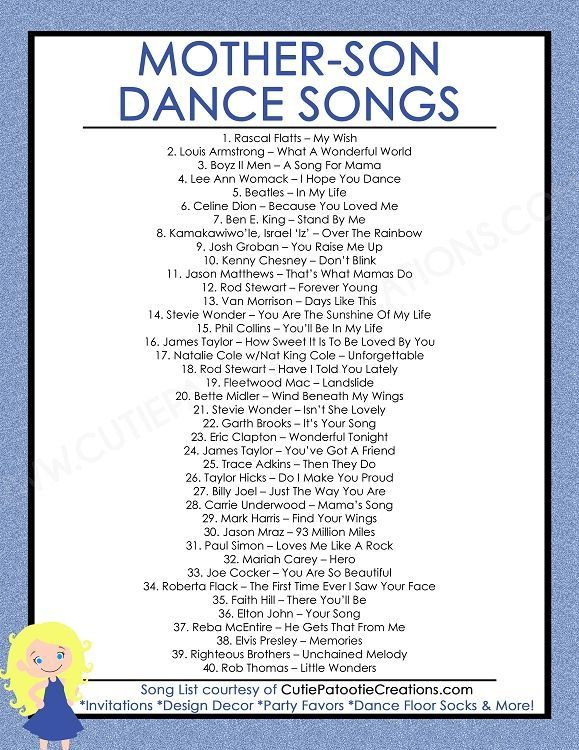 FREE Printable List Of Top 40 Mother Son Dance Songs For Bar Mitzvah And Weddings By