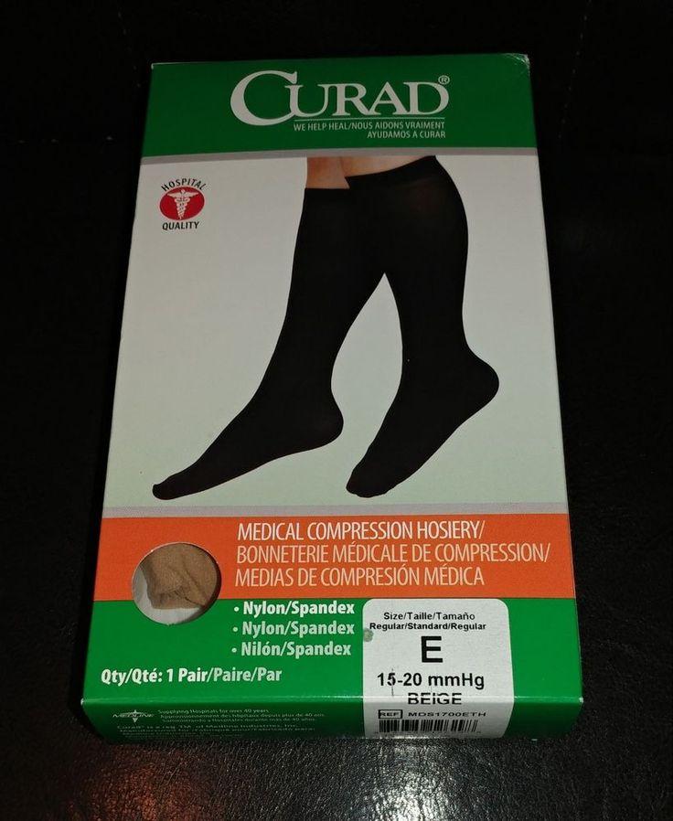 NEW Curad Medical Compression Stockings Knee Length Size E 15-20mmHg Beige NIB #CURAD