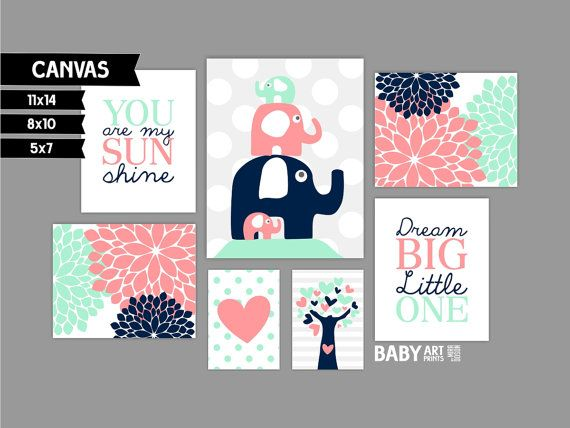 Mint, Coral and Navy Girl Nursery canvas art prints, Set of 7, Elephants, Dream…