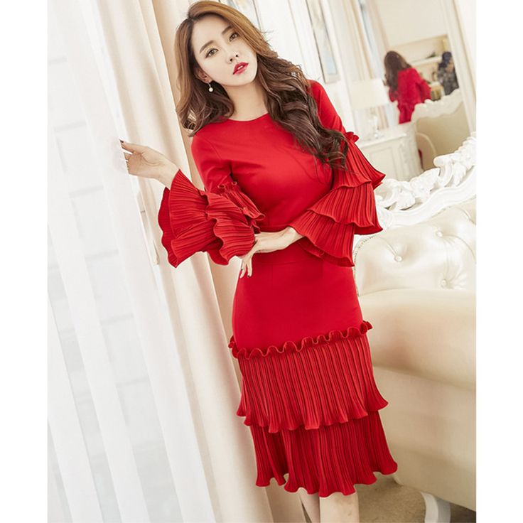 Cheap mini dress, Buy Quality dress plus directly from China plus dress Suppliers: 2017 Spring Women Bandage Vintage Bodycon Dress Vestidos Robe Sexy Office Dresses Plus Size Flare Sleeve Ruffles Red Midi dress