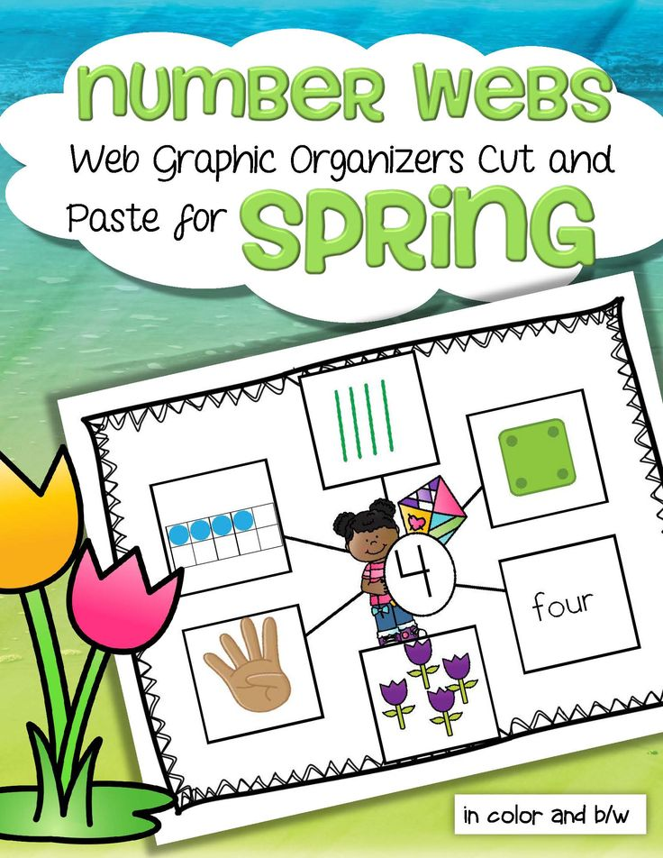 Children create Spring themed numbers 1-10 web graphic organizers by cutting and pasting 6 ways that numbers can be represented onto a number mat background.   The 6 ways that numbers can be resented used here are: 10-frames, tally marks, dice, finger counting, objects in a set, and the number word.