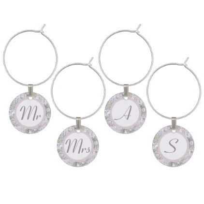 #monogrammed - #Lavender Floral Damask Wedding Wine Glass Charm