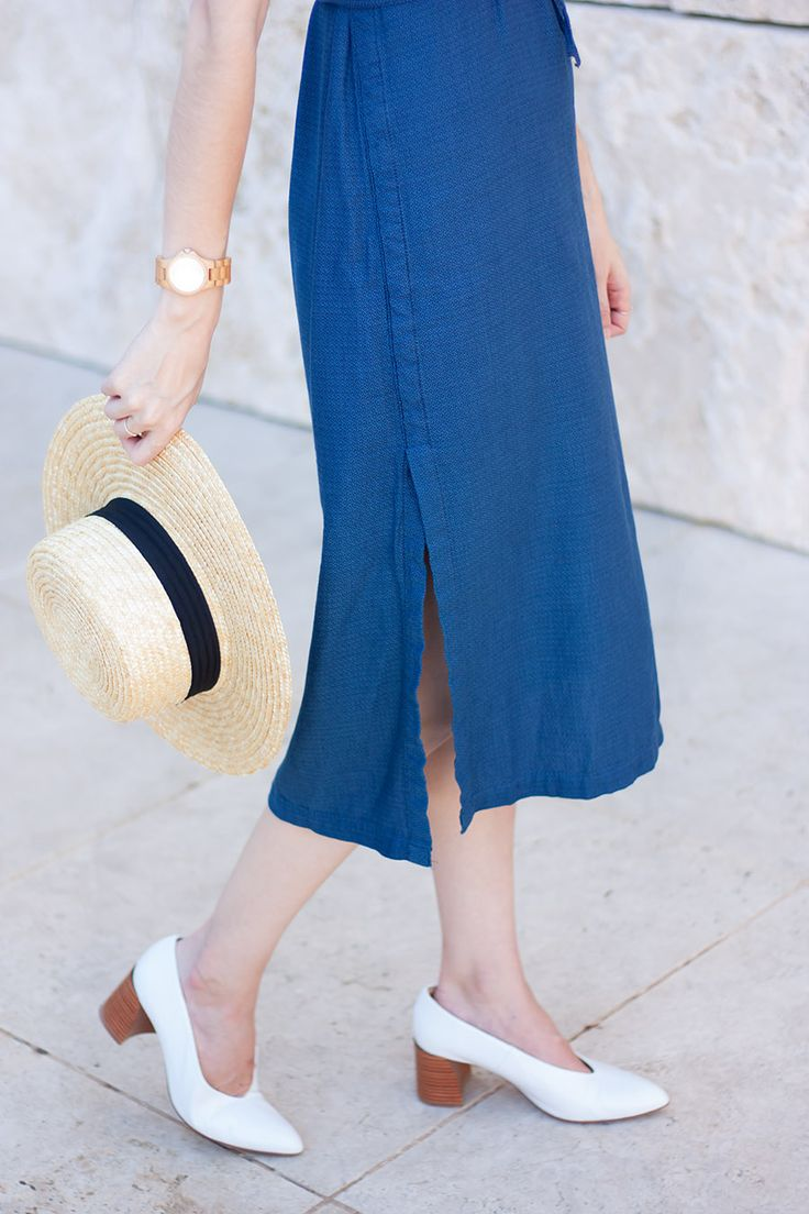 Denim midi dress with side slit and white leather heels