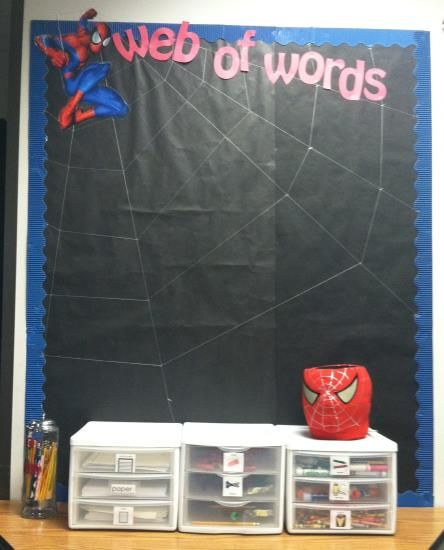 Spidermans...Web of words... word wall Hint: Spiderman on the board was cut off a gift bag!