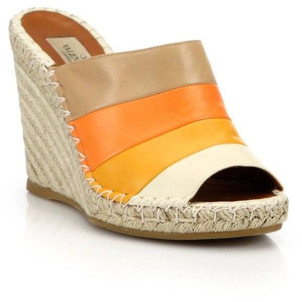 Valentino Colorblock Leather Espadrille Mules ($630) ❤ liked on Polyvore featuring shoes, sandals, orange multicolor, wedge sandals, orange wedge sandals, multi colored sandals, mule sandals and valentino shoes