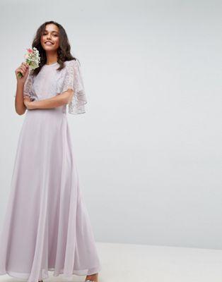 9baf99382897 DESIGN bridesmaid delicate lace applique maxi dress