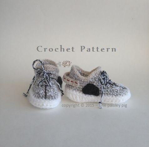 CROCHET PATTERN - Adorable Baby Shoes  - Colors Inspired by Adidas Yeezy Boost 350