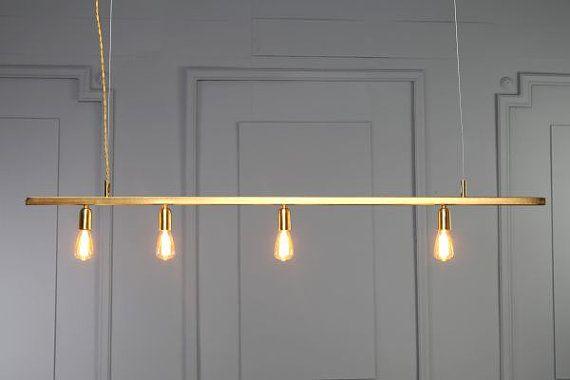 DIANA gold copper tube pendant light minimal geometric modern industrial design brass dining linear