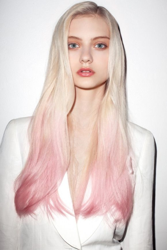 Pink Californian. Ombre. Gradient. Long Hair. Blonde. Blue eyes