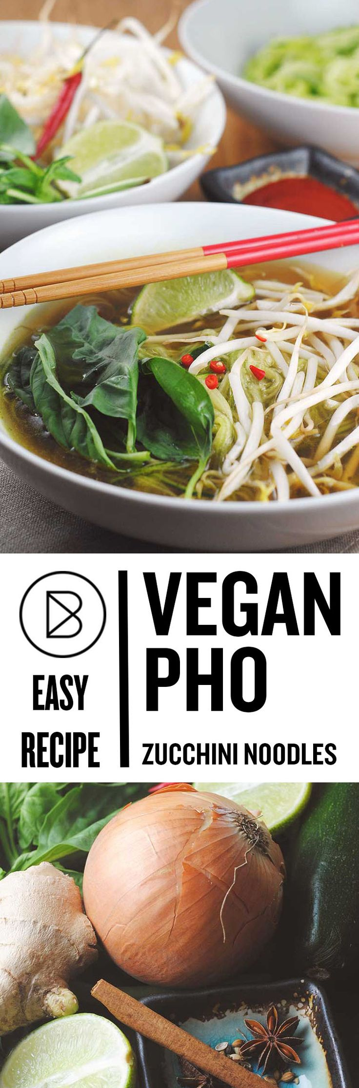 Easy vegan pho with zucchini noodles. This is also low carb, keto and you gluten-free if you replace soy sauce with Bragg's liquid aminos.