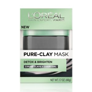 Pure-Clay Mask Detox and Illuminate by L'Oréal Paris. Formula with charcoal deeply cleanses pores.
