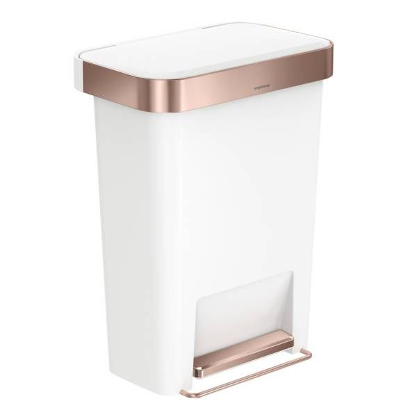 Simple human white and rose trash can for cloth diapers. Use coupon for bed bath & beyond
