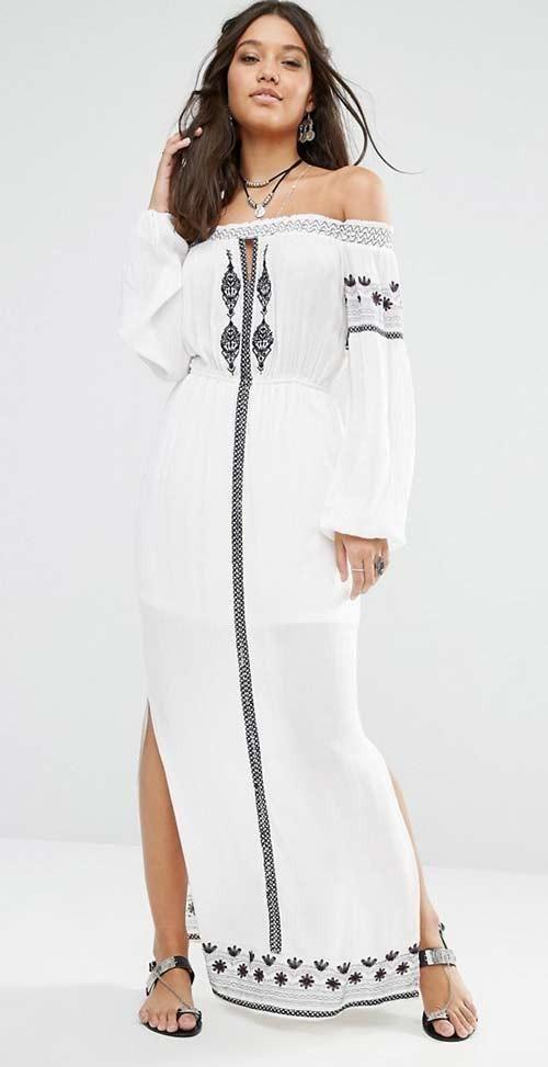 Boho Style Off Shoulder Double Slit Embroidered Maxi Dress