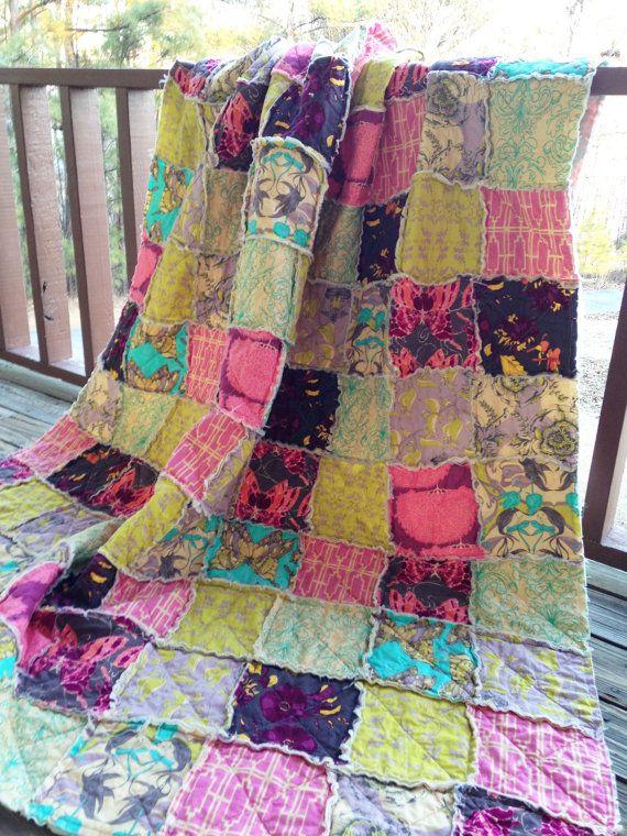 Twin Size Quilt, Rag, Flutter, Girl, ALL NATURAL, fresh modern handmade