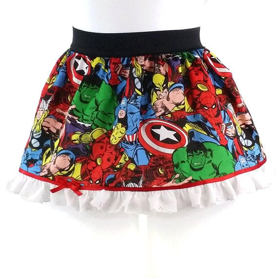 GIRL Super Hero Girl's Skirt, Marvel Comic Skirt with Lace, Marvel Girl's Skirt, Marvel Party Skirt - Visit to grab an amazing super hero shirt now on sale!
