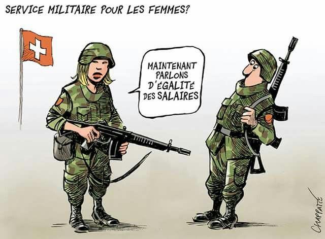 Chappatte  (2017-07-02) Suisse:   Service militaire obligatoire pour les femmes? - © Chappatte dans NZZ am Sonntag, Zürich