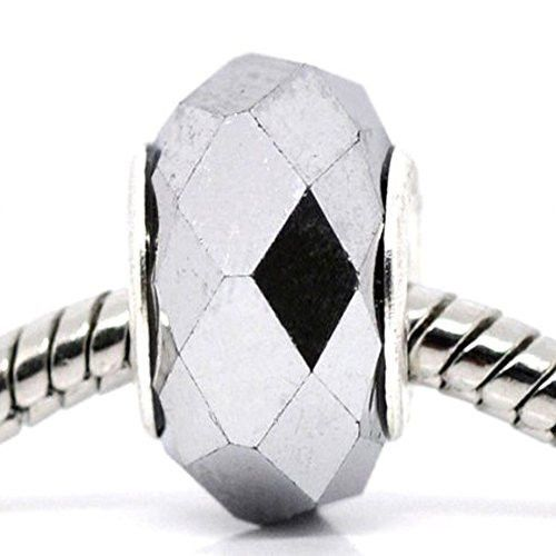 Beautiful -Grey Faceted Glass Bead Charm European Bead Compatible For Most Europ